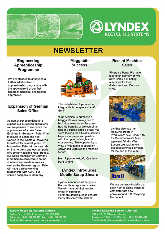 Newsletter  Lyndex Recycling Systems Limited